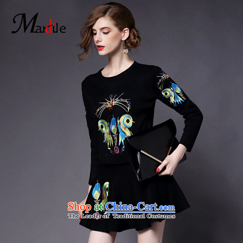 Maria di America� 2015 MARDILE autumn and winter new trend of women kit temperament and stylish skirt two kits pack Black�S