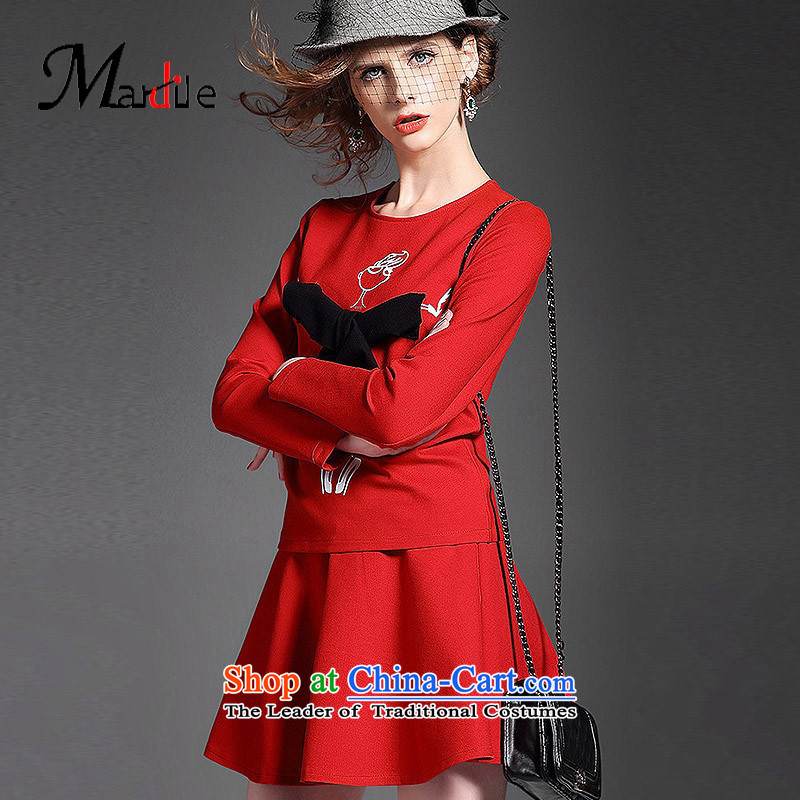 Maria di America�2015 MARDILE new trendy casual comfortable clothes for the stamp in the folds half skirt kit female autumn red�L