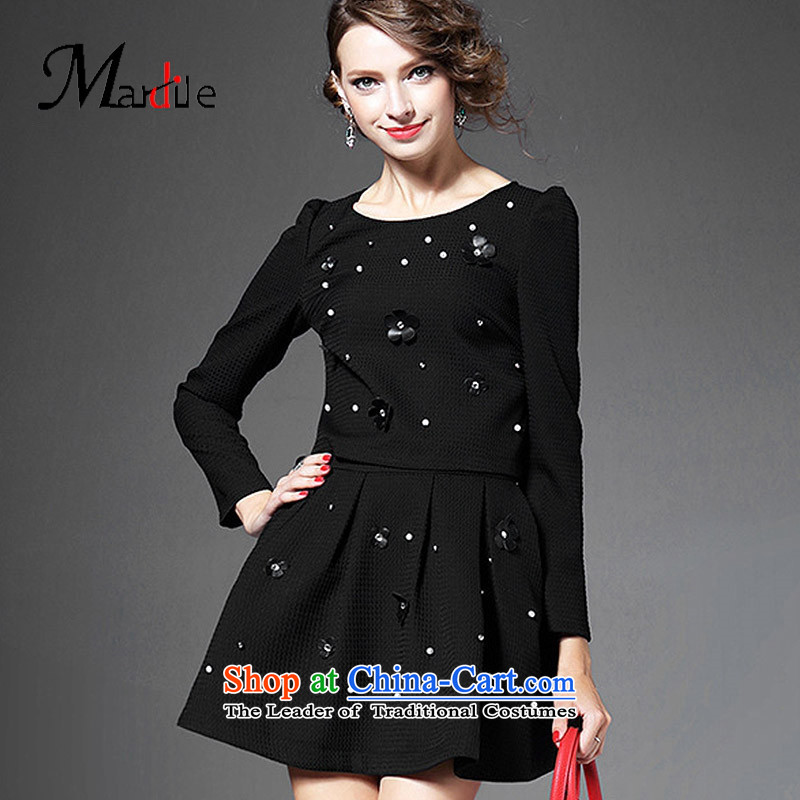 Maria di America MARDILE�2015 Ms. Chu replacing 9 stylish cuff solid color T-shirt half skirt kit trend picture color�M