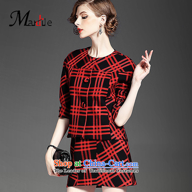 Maria di America�2015 MARDILE in the fall of President of fashionable trend lapel plaid pants and casual jacket female kit red figure�M