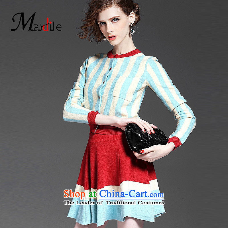 Maria di America MARDILE�2015 round-neck collar long-sleeved Knitted Shirt streaks female stylish fall inside the light blue skirt�S