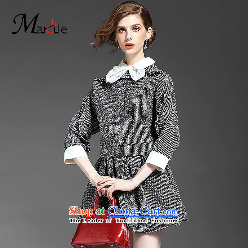 Maria di America MARDILE? 2015 Couture fashion 7 cuff hip trendy fashion autumn flowers rough wild short skirt gray?M