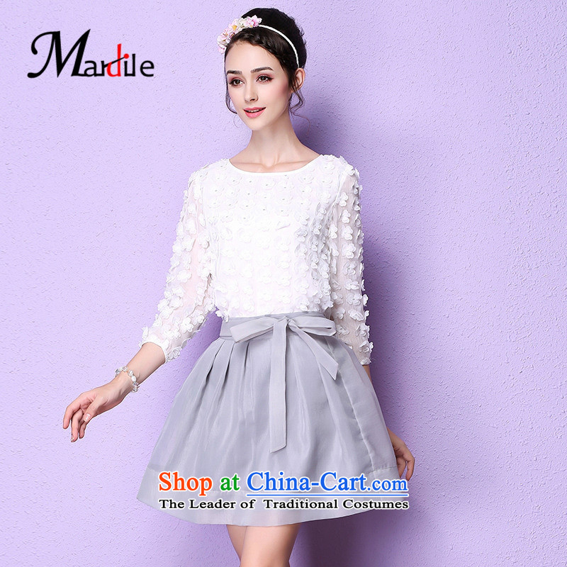 Maria di America� 2015 MARDILE autumn and winter new women's temperament two kits half skirt kit trendy mandatory gray�XL