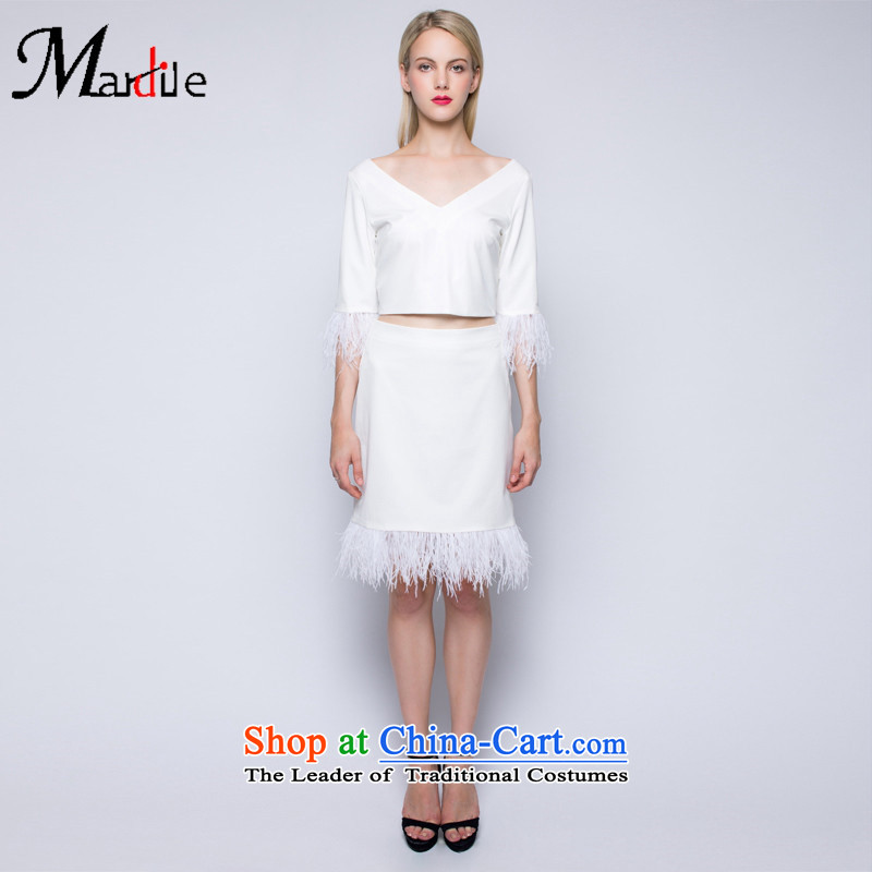 Maria di America� 2015 MARDILE autumn and winter stylish edging deep V sexy women clothes in wild skirt two kits white�L