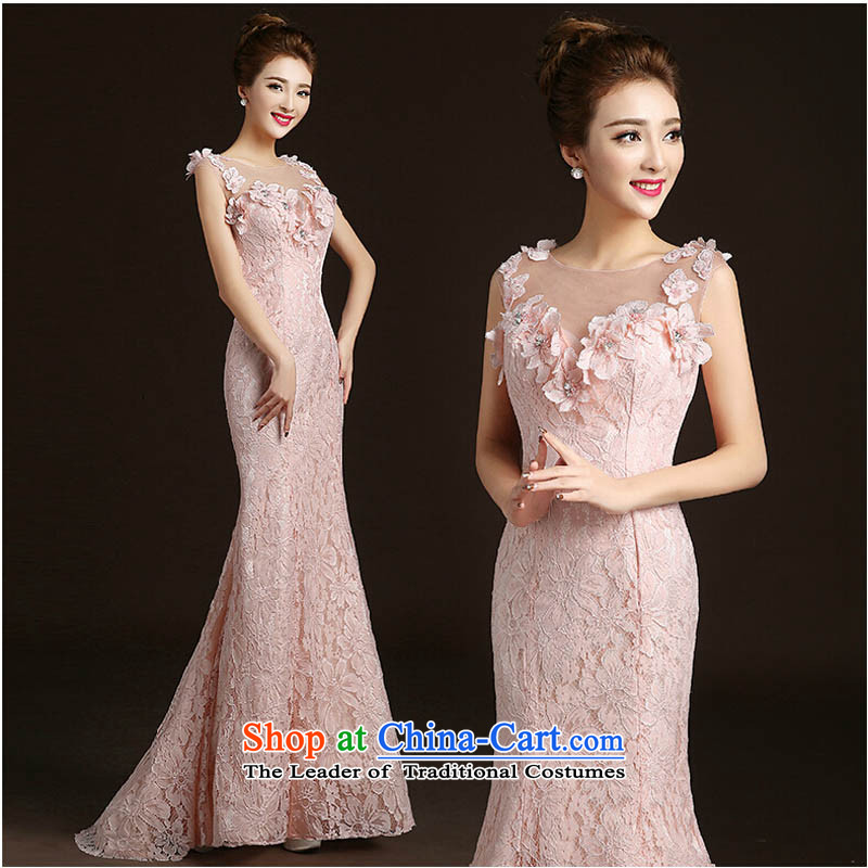 The new 2015 Sau San tail longer bride wedding dress bows service female wedding banquet dinner dress autumn and winter pale pink tailored please contact Customer Service