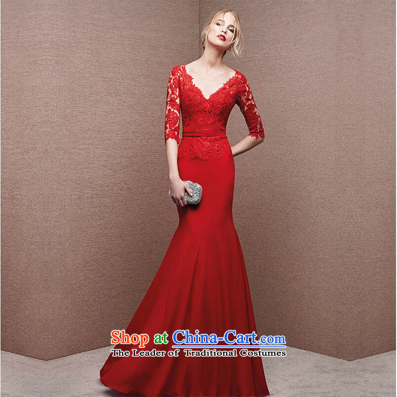 Pure Love bamboo yarn 2015 autumn and winter new stylish red V-Neck crowsfoot bride wedding dress bows service long evening dresses red tailored please contact Customer Service