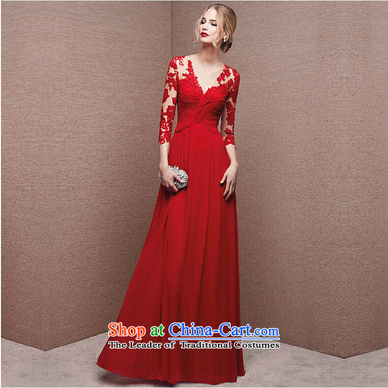 Pure Love bamboo yarn upscale 2015 autumn and winter new stylish long-sleeved red slotted shoulder bride wedding dress long drink service evening dress red�S