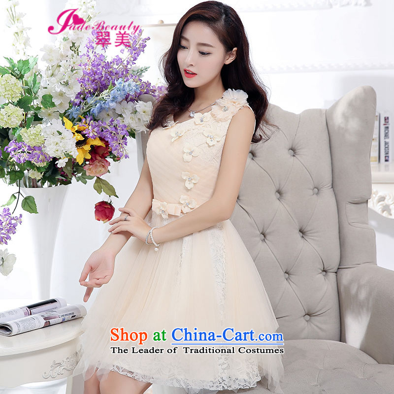 The Hong Kong 2015 Autumn dress new stylish temperament dress evening dresses back door onto the girl beige?L
