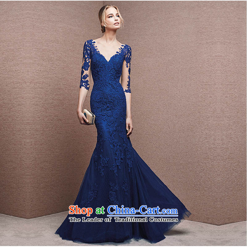 2015 Autumn and winter new stylish lace long-sleeved deep V-Neck evening dress long evening banquet larger bows services blue�S