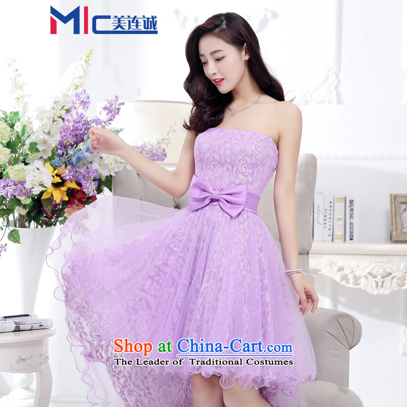 Mei Lin Shing 2015 new dresses dresses temperament and chest wedding Top Loin video thin black small belly evening dresses purple L