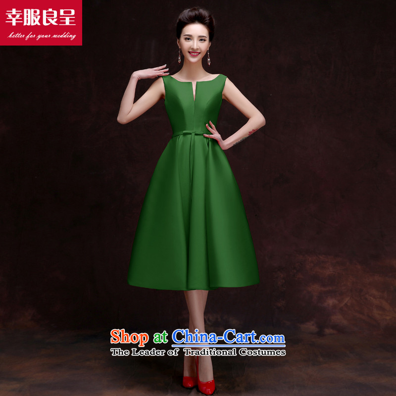 The privilege of serving-leung 2015 new bride bows to the summer and fall of Red Dress Chinese wedding dresses skirts small, dark green?S