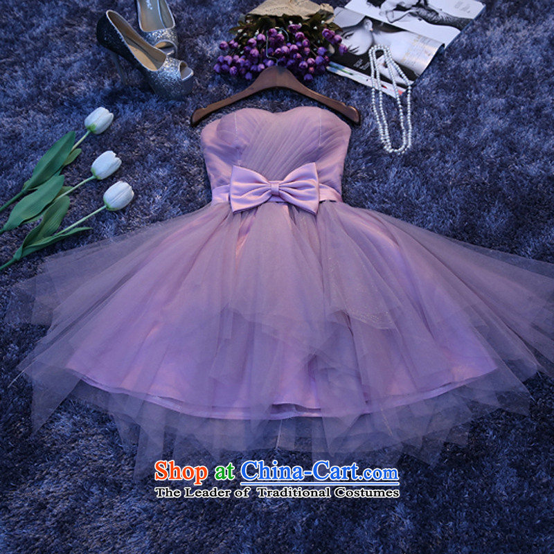 Purple bridesmaid service in a small chest anointed skirt dress evening dresses 2015 New banquet hostess Sau San purple�xxl