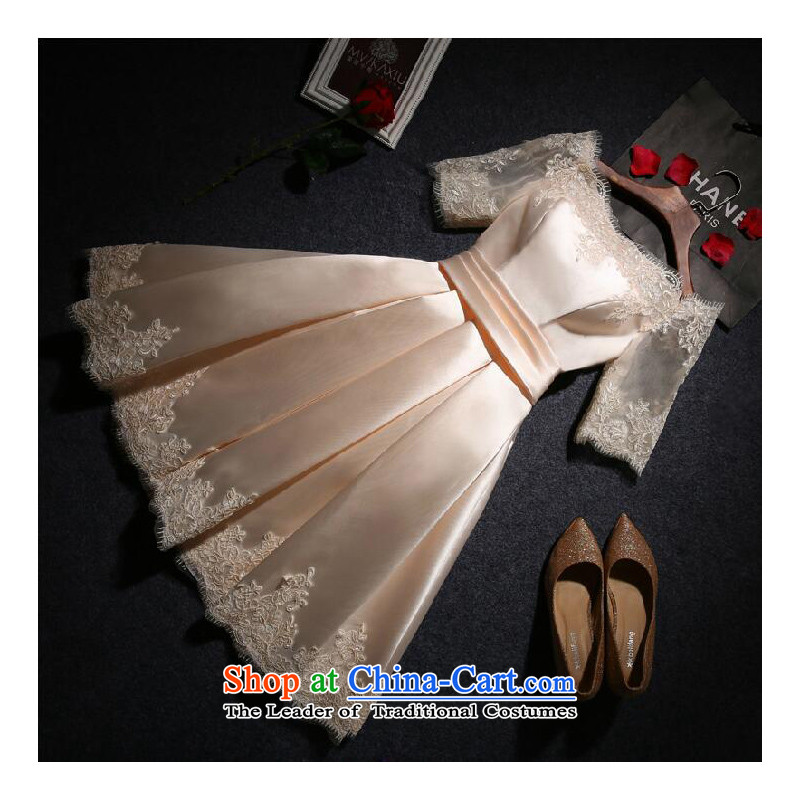 On the following new paragraph 2015 autumn and winter evening dresses marriage bows services word bride shoulder, Sau San banquet dresses short moderator dresses female satin back to door service champagne color?S