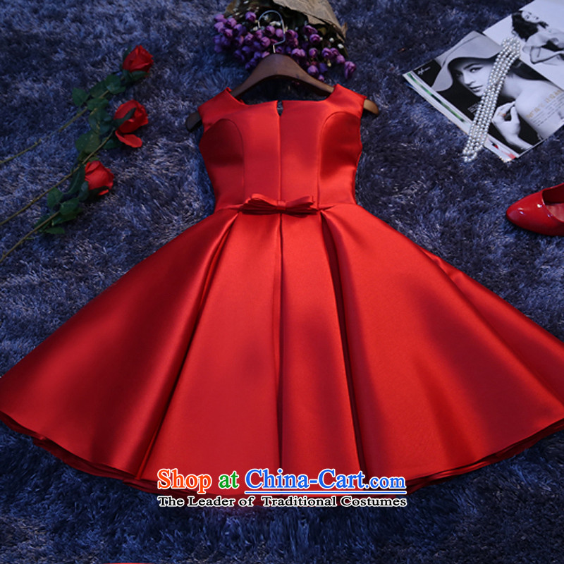 Short of red bride bows services 2015 New Fall/Winter Collections bridesmaid dress banquet evening dresses trendy first field shoulder red?s