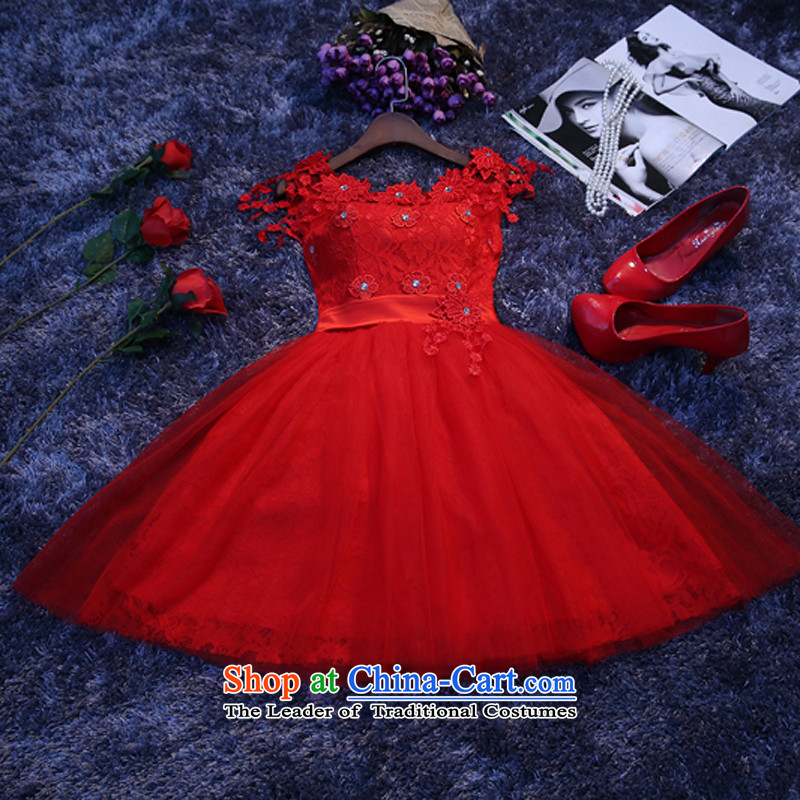However service small dress short skirt) bridesmaid services 2015 autumn and winter new Korean bridesmaid sister skirt dress in red?xxl