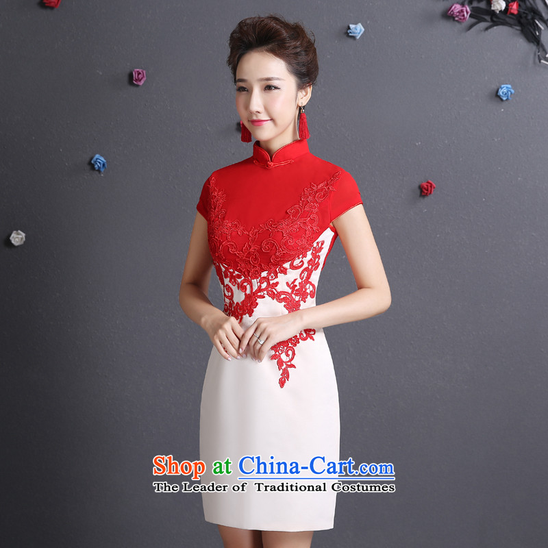 In accordance with the new 2015 Lena Chinese cheongsam dress short dinners bridesmaid bride bows services etiquette clothing�xl