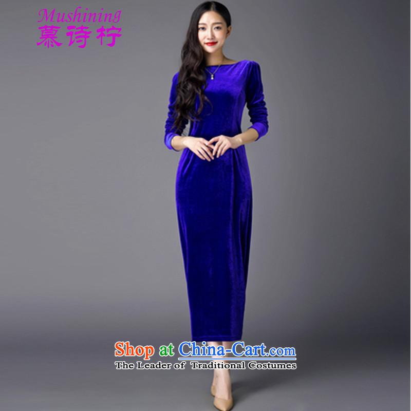 The name of the loaded autumn 2015 poem new retro cheongsam dress dresses Sau San blue skirt?S