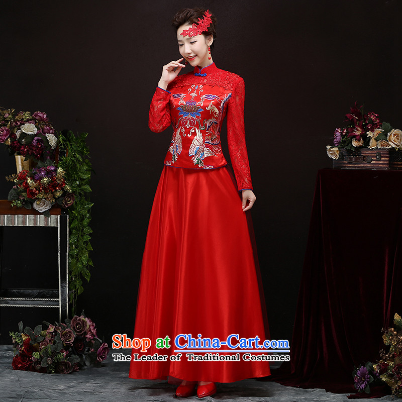 Toasting champagne bride services cheongsam long-serving New Sau San groups of Chinese wedding dresses retro improved wedding dress red�xxl
