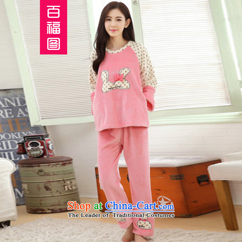 Pak Fuk figure 2015 autumn and winter new Korean kiss and autumn and winter flannel gown lovely long-sleeved mink Ms. pajamas kit lint-free picture color and kissing the female�XL