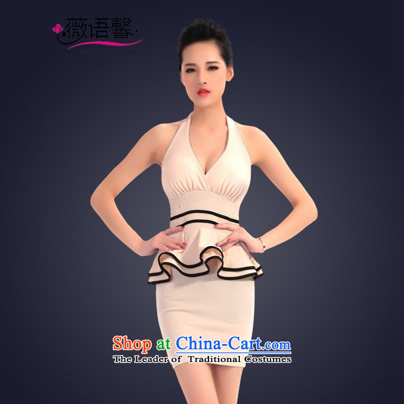 Optimize the bell shop sexy will dress short of evening dress who decorated night package and female apricot聽S