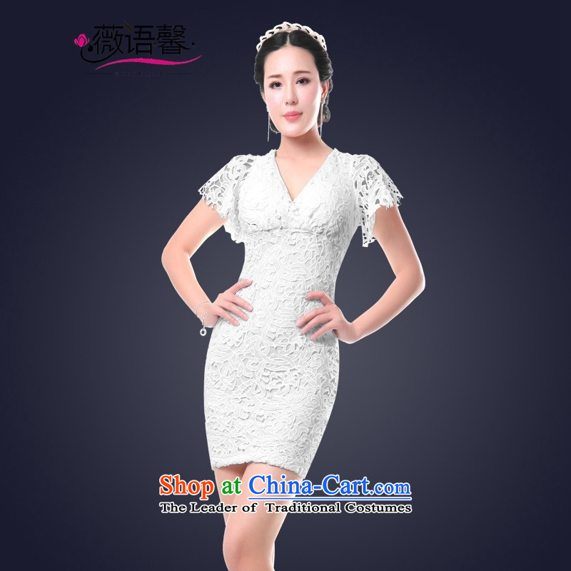 Optimize fruit shop 2015 Summer bell female lace engraving dresses short skirts and sexy Dress Short of black聽L