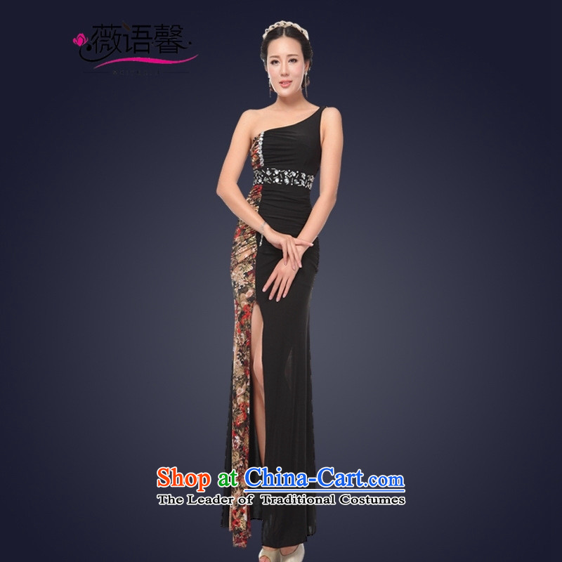 Optimize fruit shop 2015 Summer bell sexy female nightclubs dresses long banquet dinner dress will shoulder black聽S