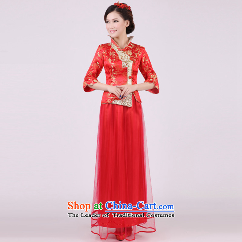 2015 new retro red autumn and winter load bride wedding dress long sleeved qipao toasting champagne 7 Services Red?l