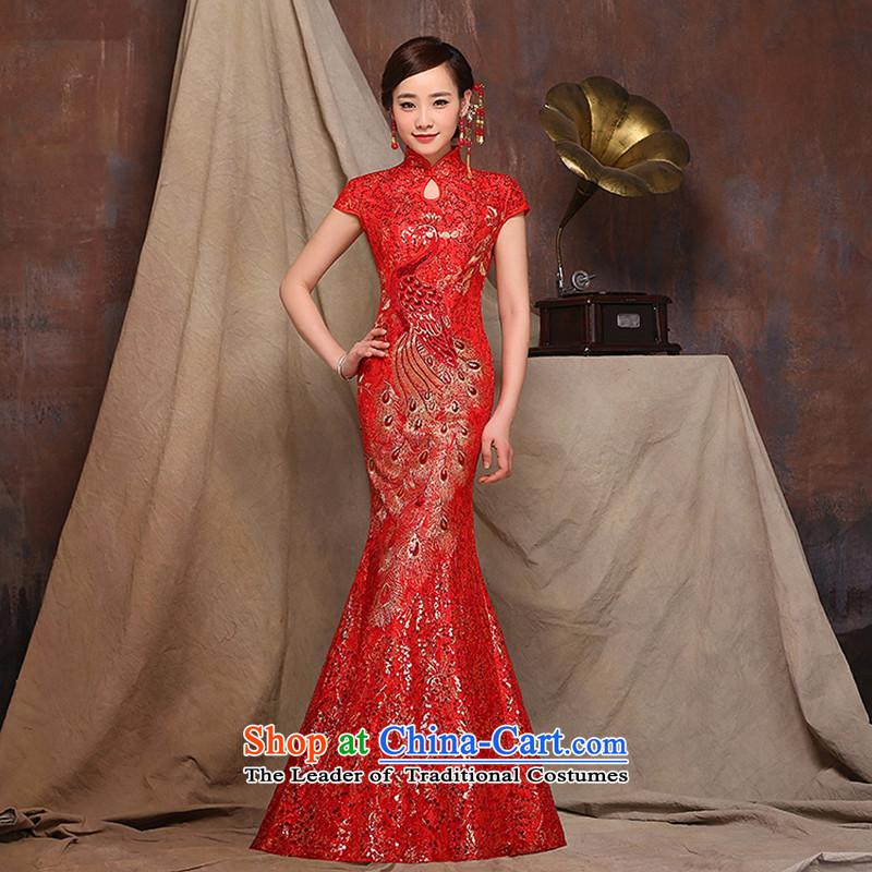 Red bows Service Bridal long stylish 2015 new marriage wedding dresses crowsfoot spring red爏