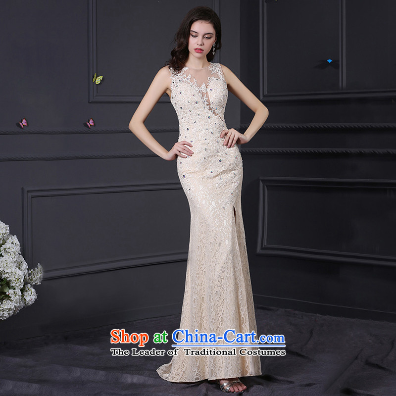 Custom dresses dressilyme 2015 new lace crowsfoot before opening the forklift truck and round-neck collar Sau San package reception party wedding dresses evening champagne color XL