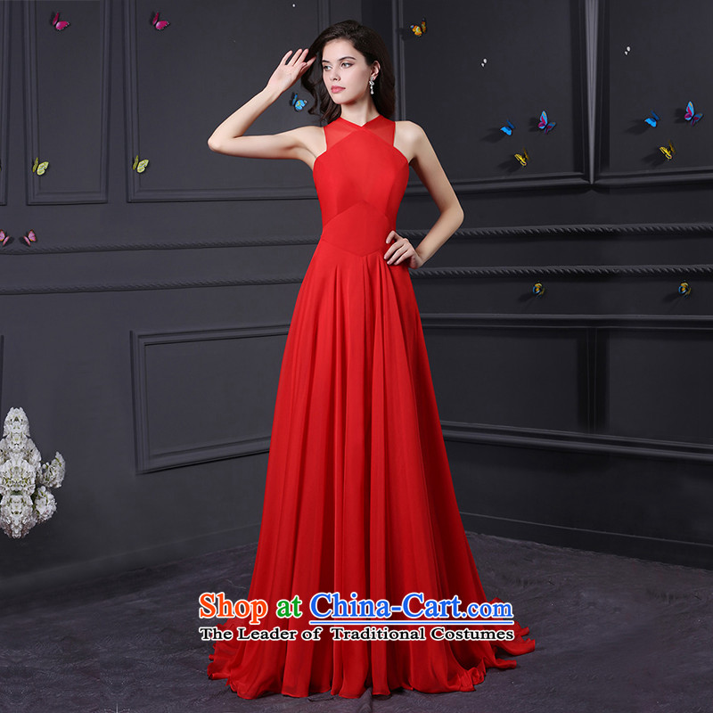 Custom dresses dressilyme 2015 new red chiffon straps stylish reception party of a wedding dress bows service evening red�L