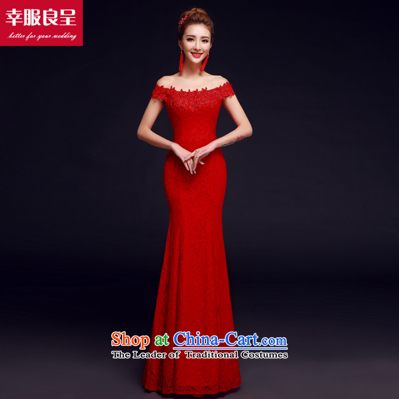 The privilege of serving-leung bows services new 2015 Red bride with a wedding dress field to align the shoulder evening dresses crowsfoot Red?2XL