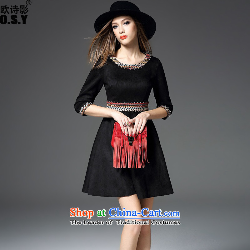 The OSCE Poetry Film 2015 autumn and winter new women's heavy industry staples pearl embroidery suede 7 cuff dress dresses red door onto bows bridesmaid service gift black?S