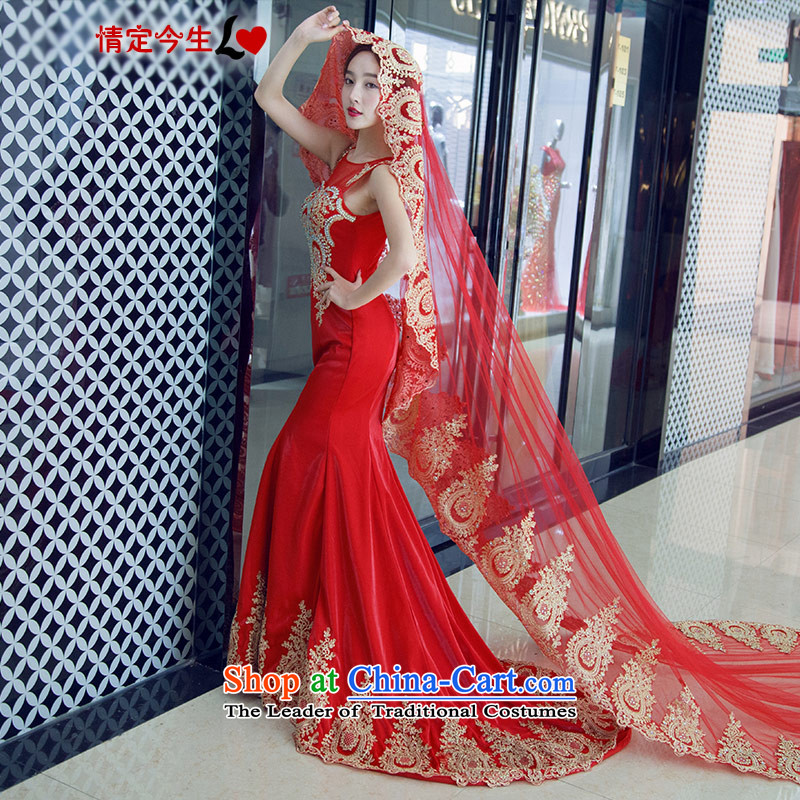 Love of the overcharged new Word 2015 stylish and elegant shoulder embroidery large red tie romantic crowsfoot large tail dress marriages bows service banquet night red tail with head of�L