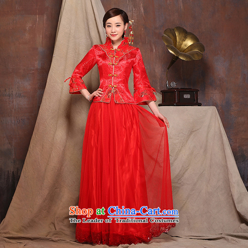 2015 new red autumn and winter load bride wedding dress long improved qipao bows service wedding dress red�xl