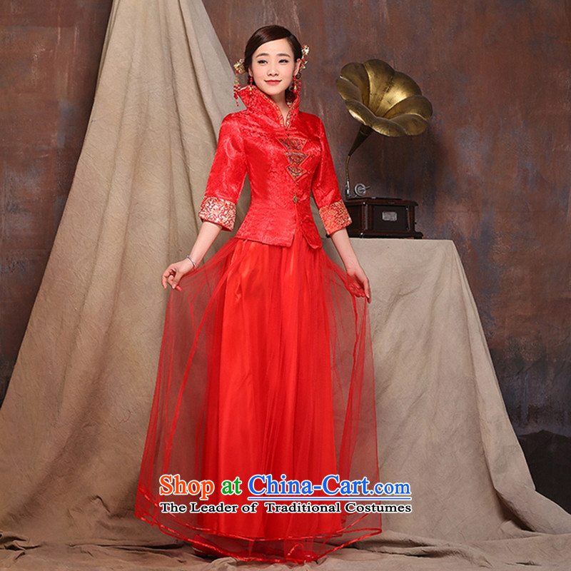 2015 new red autumn and winter load bride wedding dress long improved qipao bows service wedding dress red�s