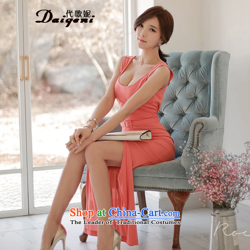 Stephanie _daigeni song generation_ 2015 new product version won back the forklift truck and sexy package and vest dress pink dresses聽M