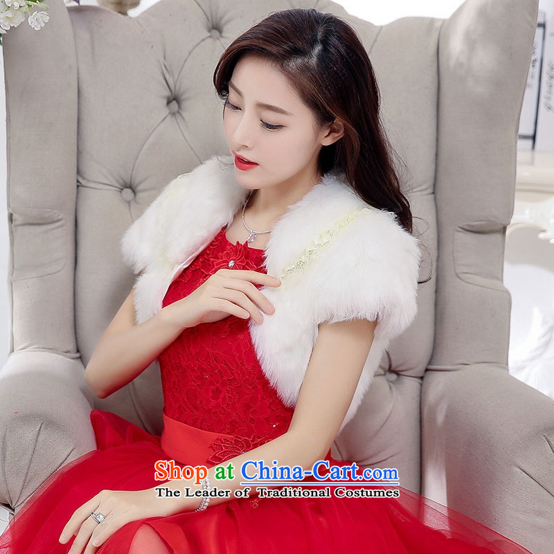 2015 Autumn and Winter, sweet wind in aristocratic long skirt dresses bon bon stylish Transfer round-neck collar princess skirt rabbit hair shawl two kits gauze dresses evening dresses wedding + shawl聽M