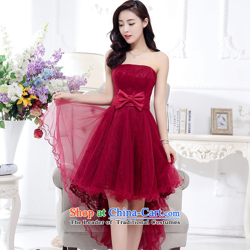 2015 Autumn and Winter, stylish Sau San Foutune Bow Ties With chest lace dresses Bridal Services evening dresses temperament gentlewoman long skirt as Princess skirt sweet bridesmaid services wine red聽M