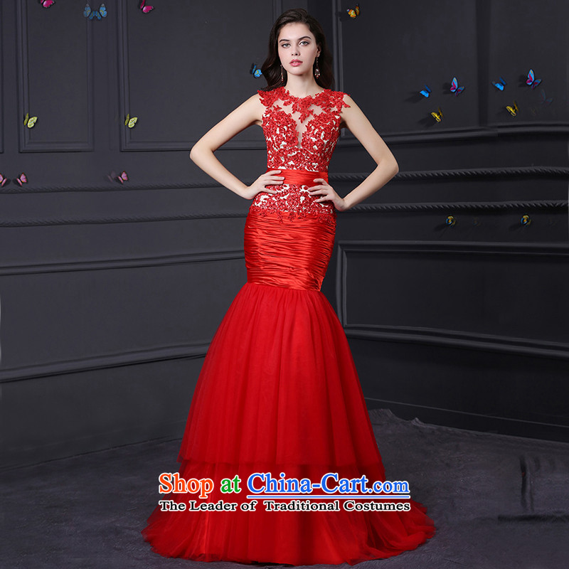 Custom dresses dressilyme 2015 new red crowsfoot lace stitching multi-tier party evening reception wedding dress marriage custom color�S service bows