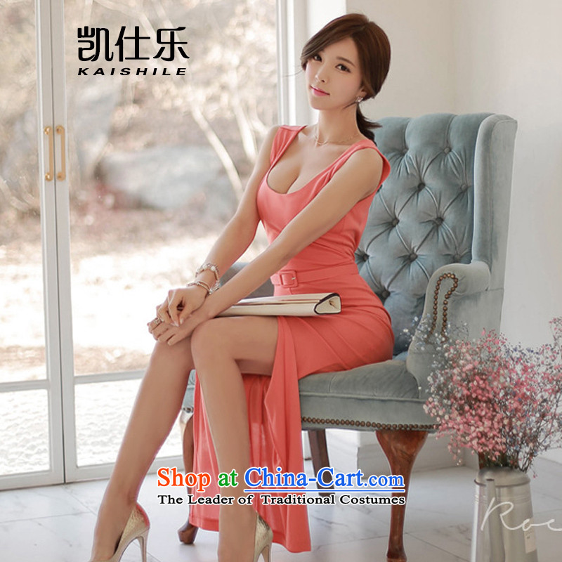 Mr Rafael Hui Kai Lok _KAISHILE_ 2015 new product version won back the forklift truck and sexy package and vest dress pink dresses聽S