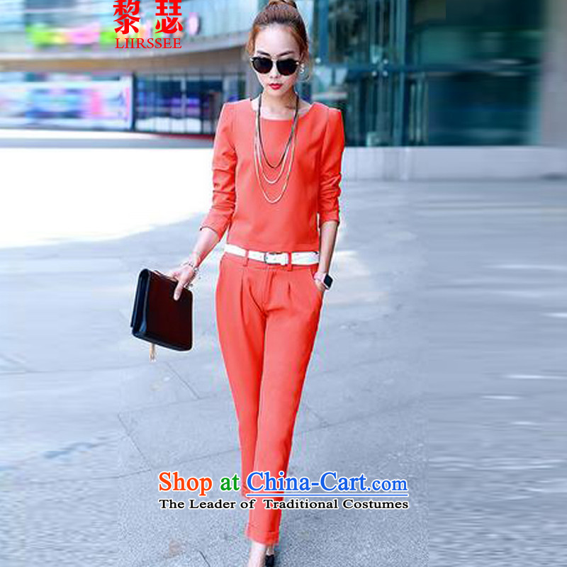 Joseph Lai 2015 autumn and winter Couture fashion kit long-sleeved Sau San small wind-aristocratic two kits female orange�M