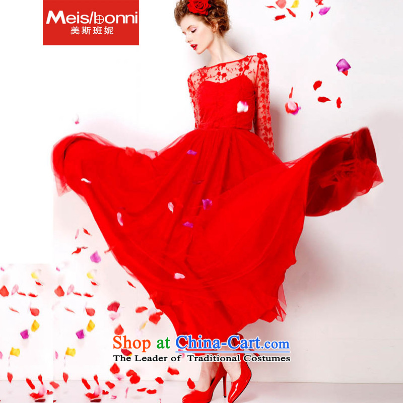 The United States at the large red embroidery Connie dresses 2015 retro lace red petticoat bride 9 m large long skirt 5CLY ceremony red?S