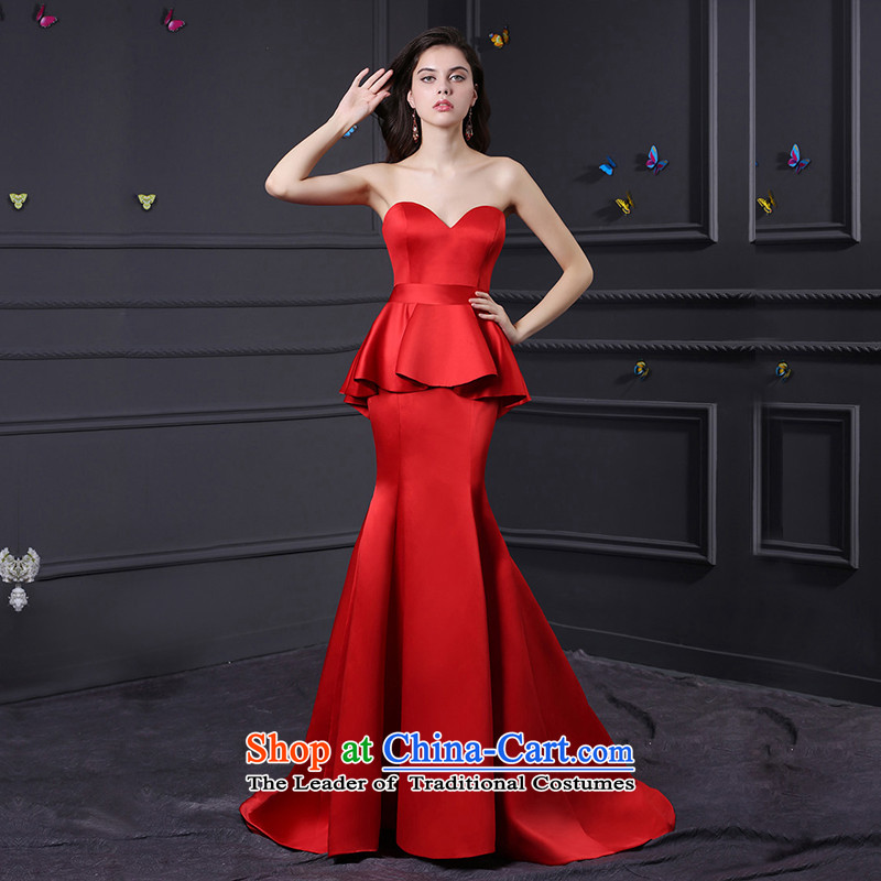 Custom dresses dressilyme 2015 new red satin chest wiping the long reception party wedding dresses bows service evening bridesmaids custom color�XXSTOXL)