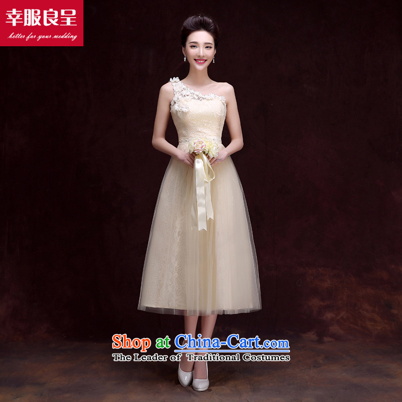 The privilege of serving-leung bridesmaid dress 2015 new bridesmaid to champagne color in the medium to long term in a small dress bridesmaid mission sister skirt dress�A shoulder in long -609-, champagne color bridesmaid service�2XL
