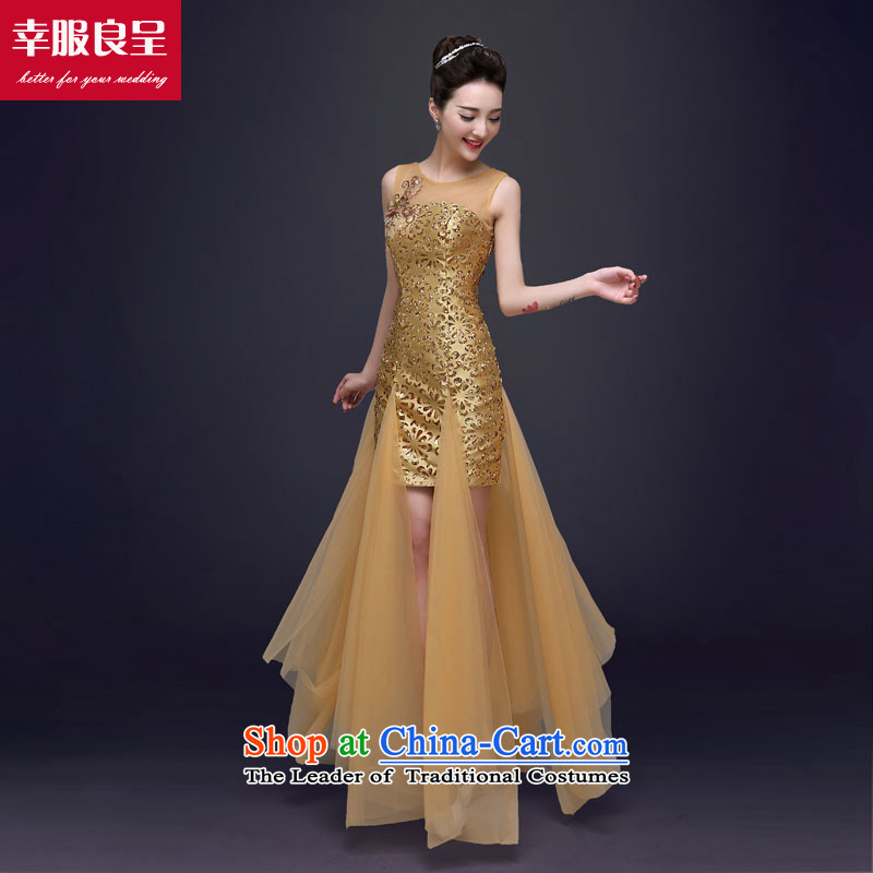 The privilege of serving-leung evening dresses long 2015 new stylish autumn evening banquet moderator Ms. dress long engraving?2XL