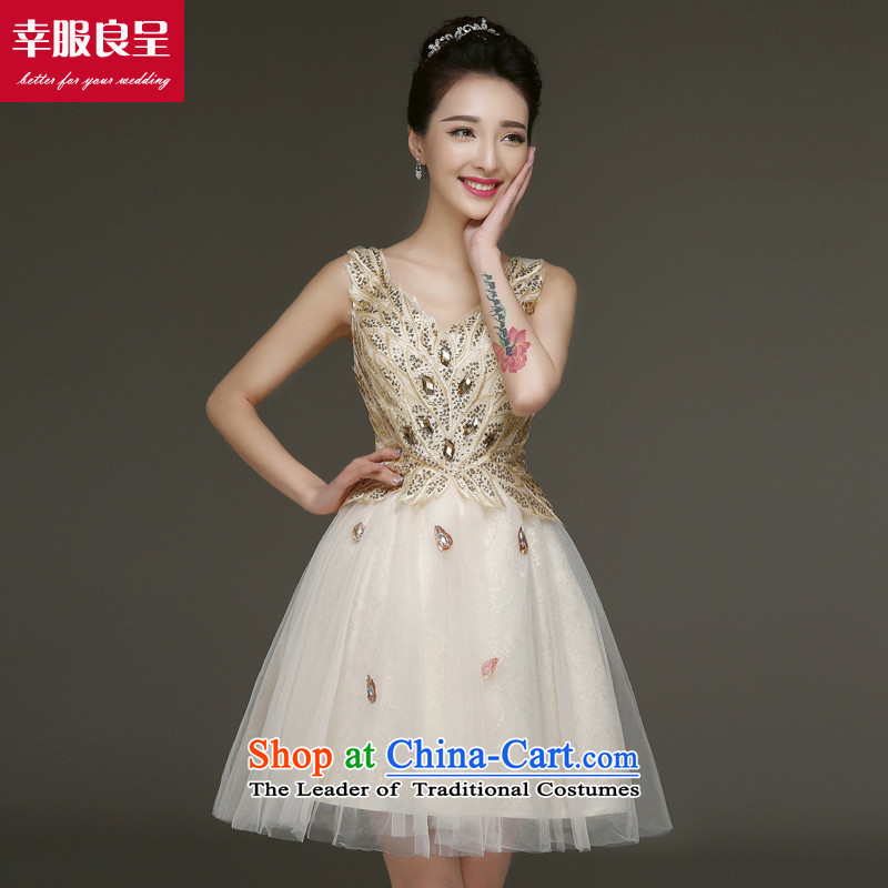 The privilege of serving-leung bows services evening dresses 2015 new bride dress small dress female short of marriage, sister skirt champagne color?L