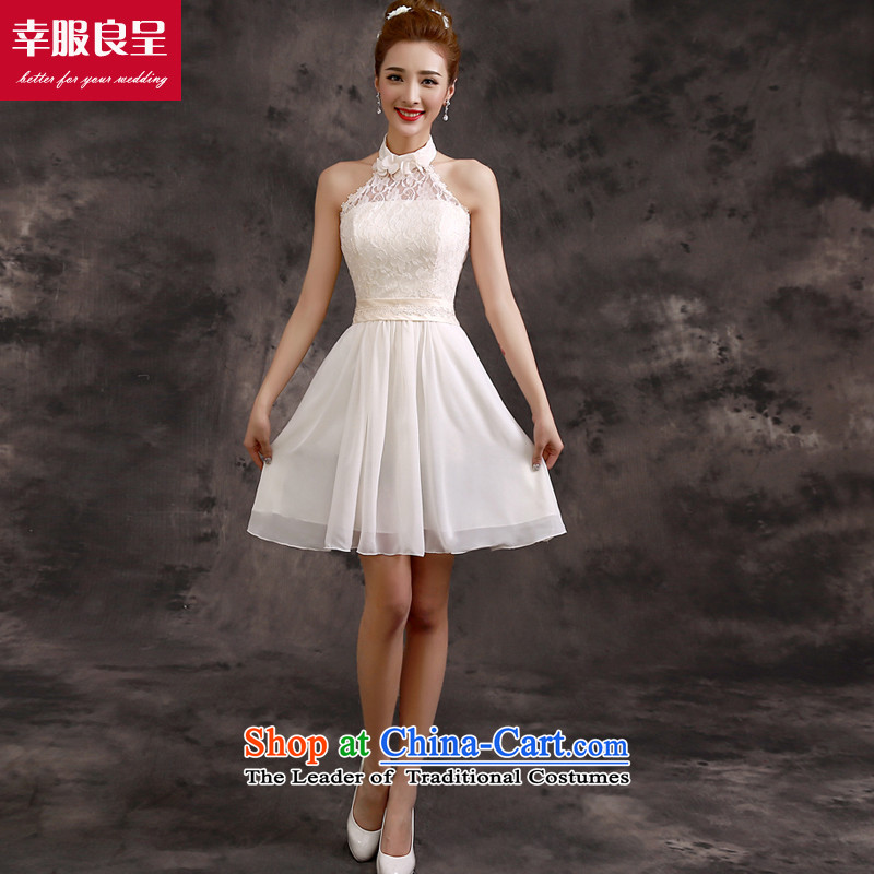 The privilege of serving-leung bridesmaid services 2015 new bridesmaid mission dress skirt champagne color short of small dress sister bridesmaids?F06) - Also?M