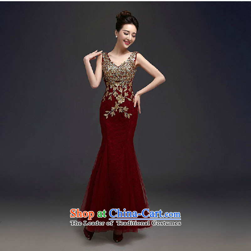 Dress long 2015 new marriages toasting champagne evening dress shoulders lace Phoenix sexy back banquet service deep red tailored please contact Customer Service
