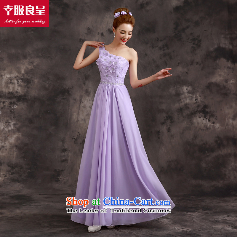 The privilege of serving-leung bridesmaid dress 2015 new bridesmaid service long bridesmaid mission sister skirt evening dress bridesmaids B02) - Beveled Shoulder S