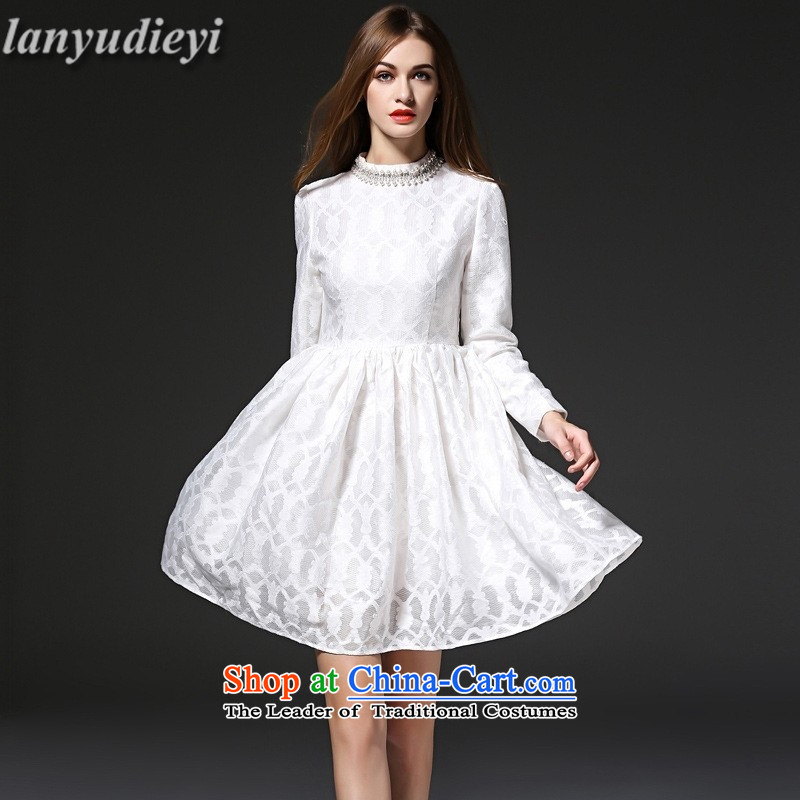 Kou *2015 spirit skirt lace nail drill Sau San moderator banquet dinner dress White?XL